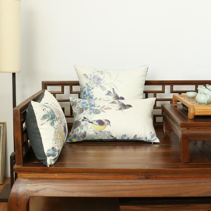 中式花鸟抱枕靠垫红木家具麂皮绒靠枕客厅实木沙发护腰中国风腰枕