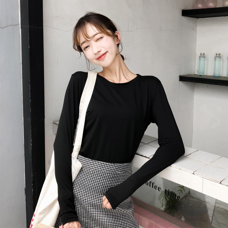 实拍 韩国chic风春秋季新款长袖t恤女纯色圆领打底衫女上衣修身