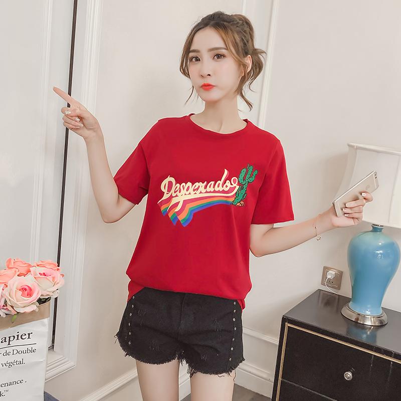 实拍白色短袖t恤女夏装韩系chic新款韩范百搭宽松字母ins半袖上衣