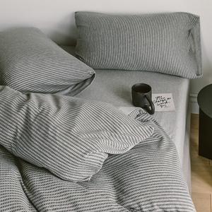 澳洲针织棉!超柔裸睡A类四件套 纯棉全棉简约灰色床上用品天竺棉