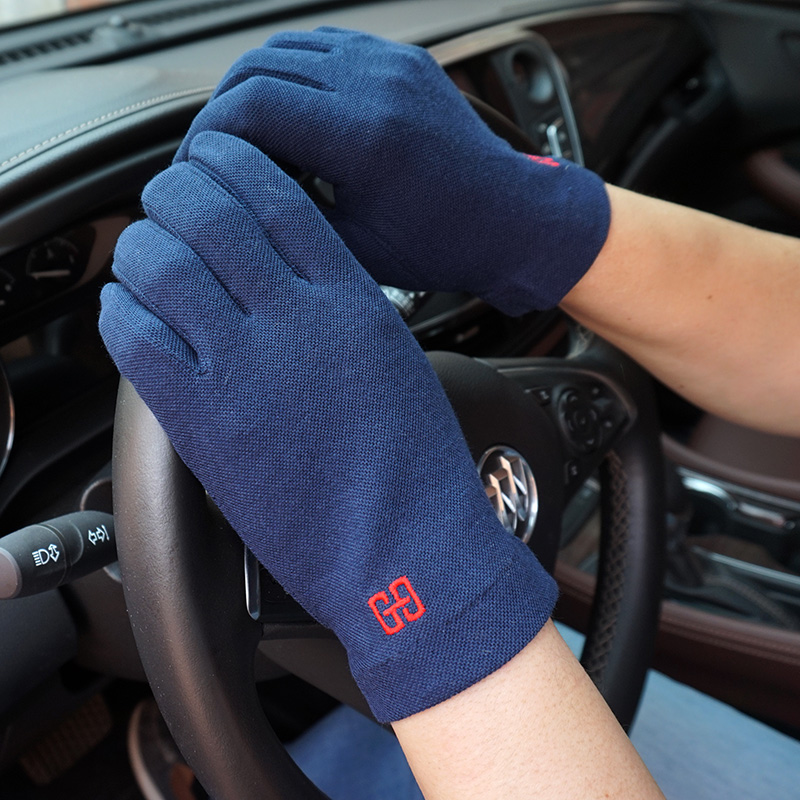 克拉斯卡新款男士棉全指防晒手套 开车掌心颗粒吸汗透气薄款手套