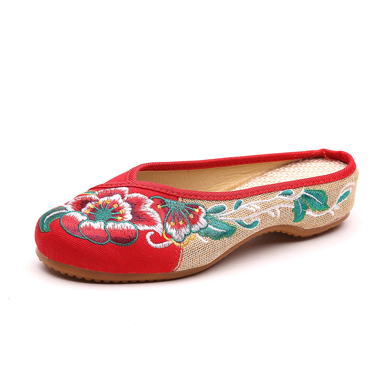 芙蓉花拖鞋 帆布拼亚麻民族风绣花女士休闲布鞋散步鞋