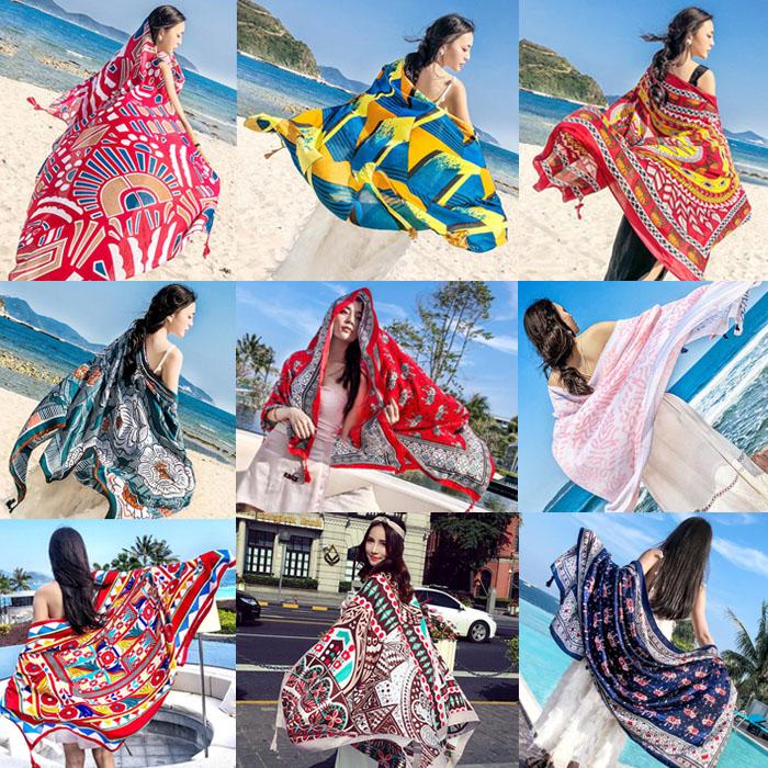 海边沙滩度假丝巾女夏季遮阳披肩围巾两用时尚百搭巴厘岛海滩裹巾