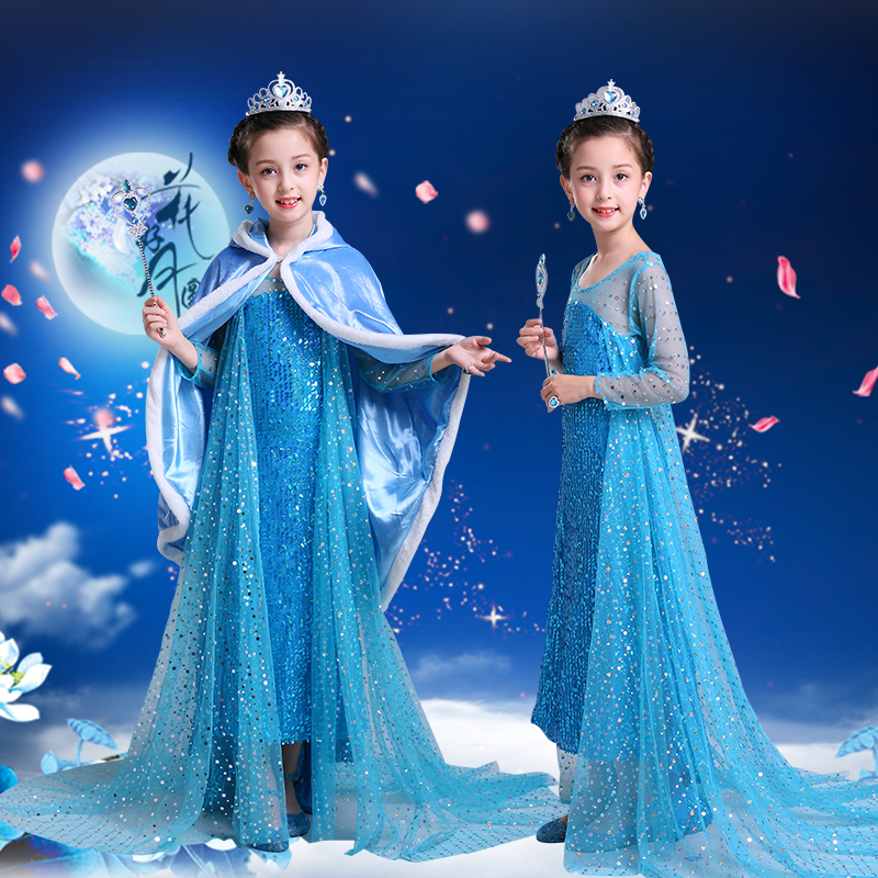 New snow princess dress yarn dress girl summer dress childrens dress hot role play