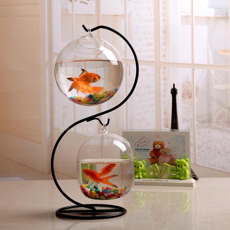 悬挂水培玻璃吊瓶微景观生态瓶铁架办公室家用欧式桌面小鱼缸