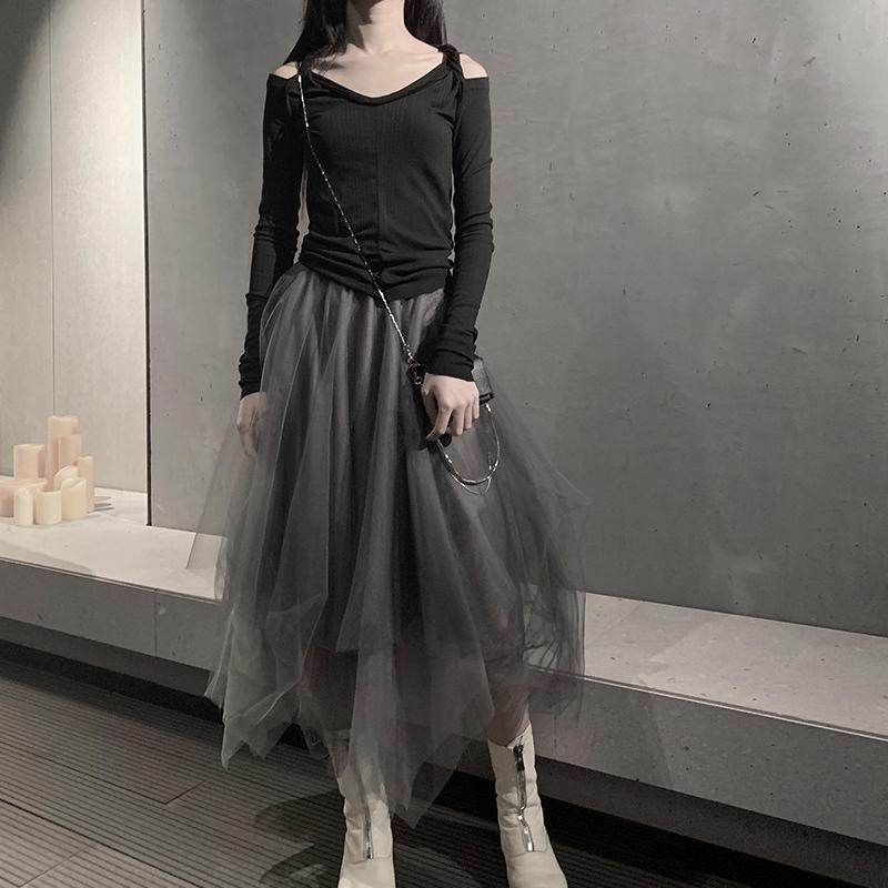 2020新款灰色纱裙半身裙高腰纱纱裙不规则暗黑风设计感蓬蓬网纱裙