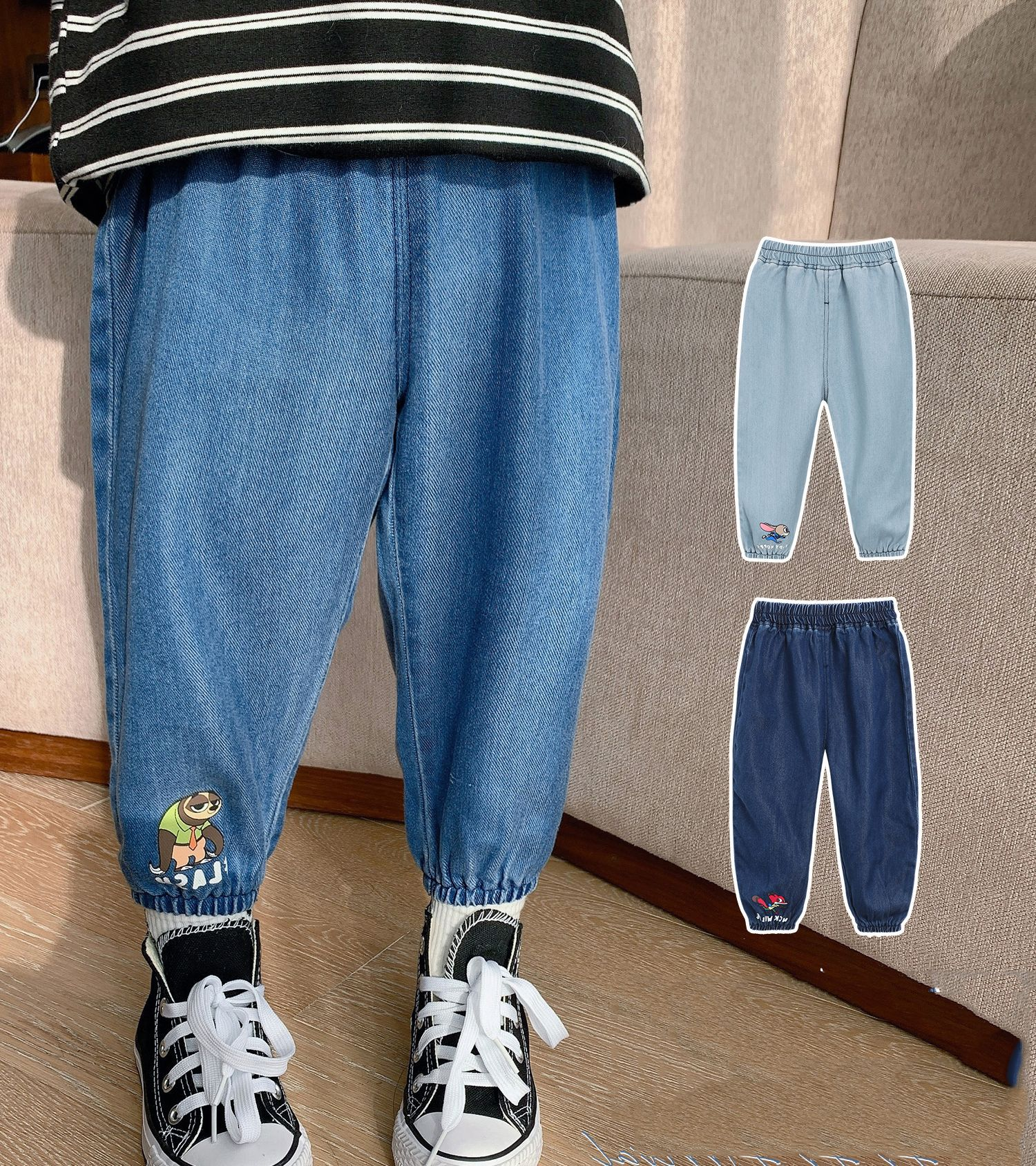Childrens boys pants 2021 new spring and autumn boys fashionable and handsome casual jeans