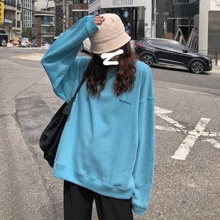 春秋韩版大码女装胖妹妹简约字母长袖卫衣宽松圆领套头学生上衣潮价格