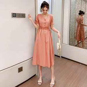 2019夏季新款v领短袖T恤裙子女中长款高腰收腰显瘦修身气质连衣裙