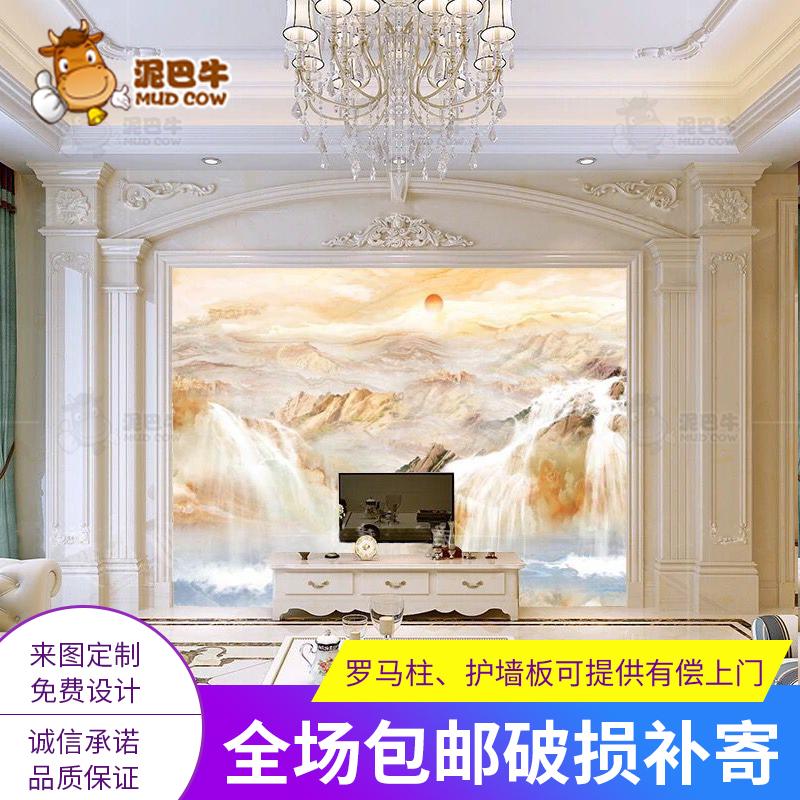 仿大理石电视背景墙瓷砖微晶石简约欧式3d客厅石材边框造型罗马柱