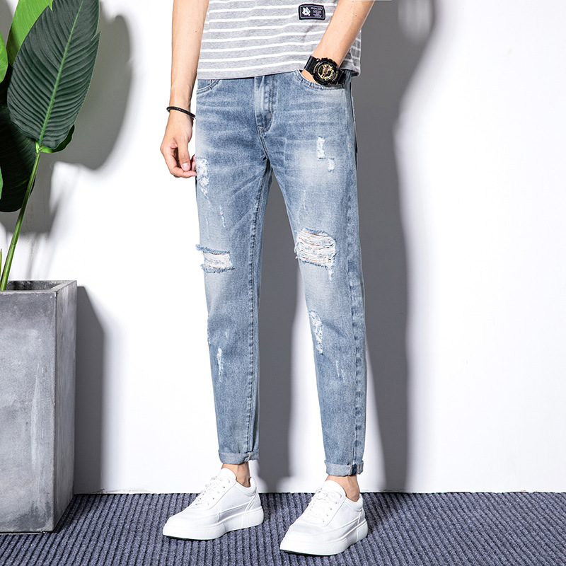 Spring and summer new mens jeans with holes and slim fit Korean mens cropped pants youth elastic casual Leggings trend