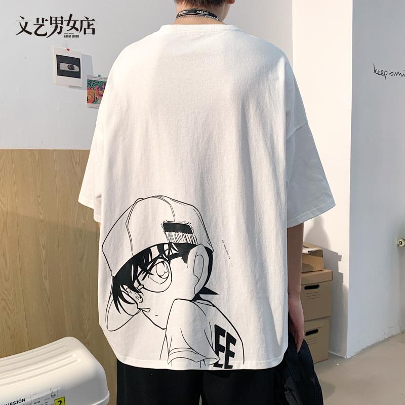 夏季港风休闲宽松boy短袖t恤男圆领五分袖韩版潮流百搭半袖衣服