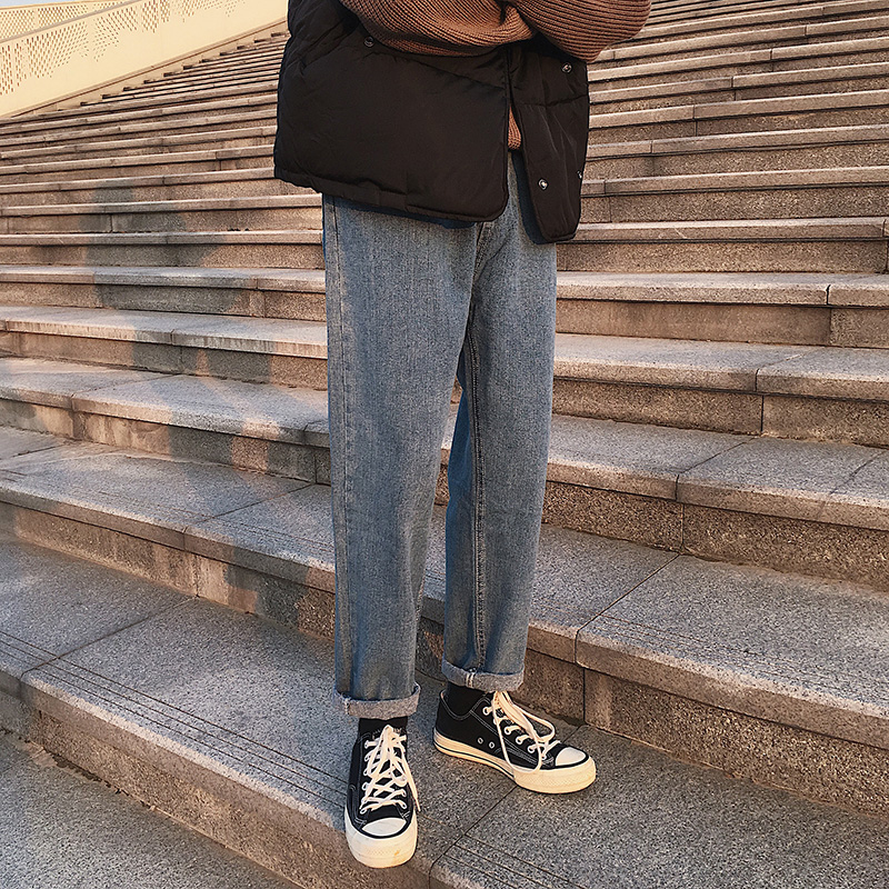 2019新款秋季长裤男裤牛仔裤直筒裤男士宽松韩版裤子休闲百搭小脚