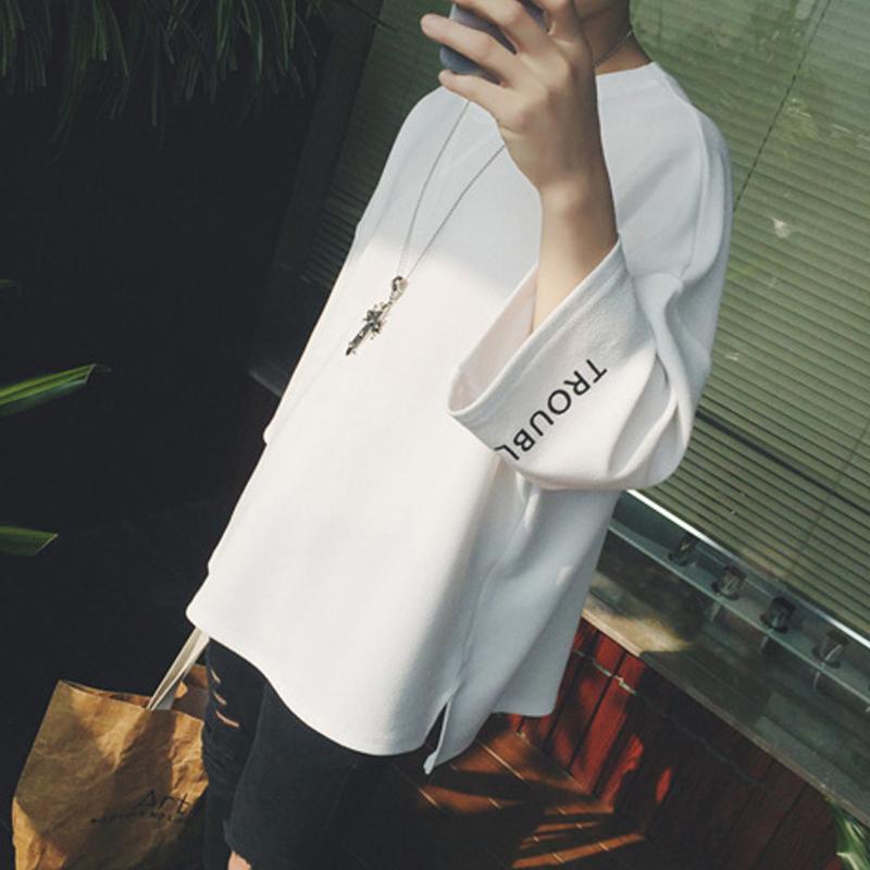 夏季男士短袖T恤韩版长袖白色宽松七分袖半袖衣服潮流原宿风夏装