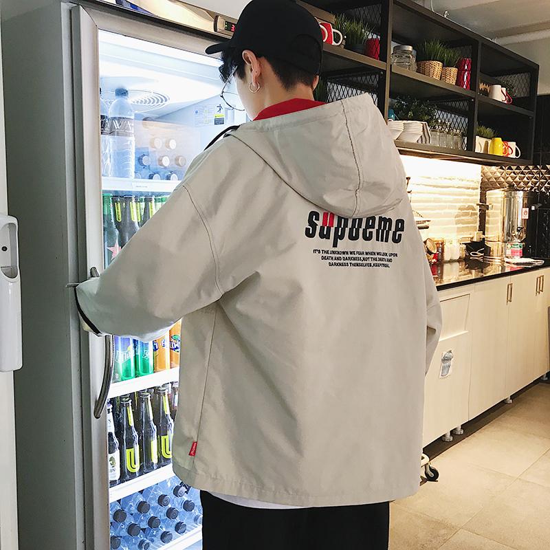 2018 новый весна пальто простой дикий мужчина корейская волна студент свободный мужской закрытый случайный красивый куртка