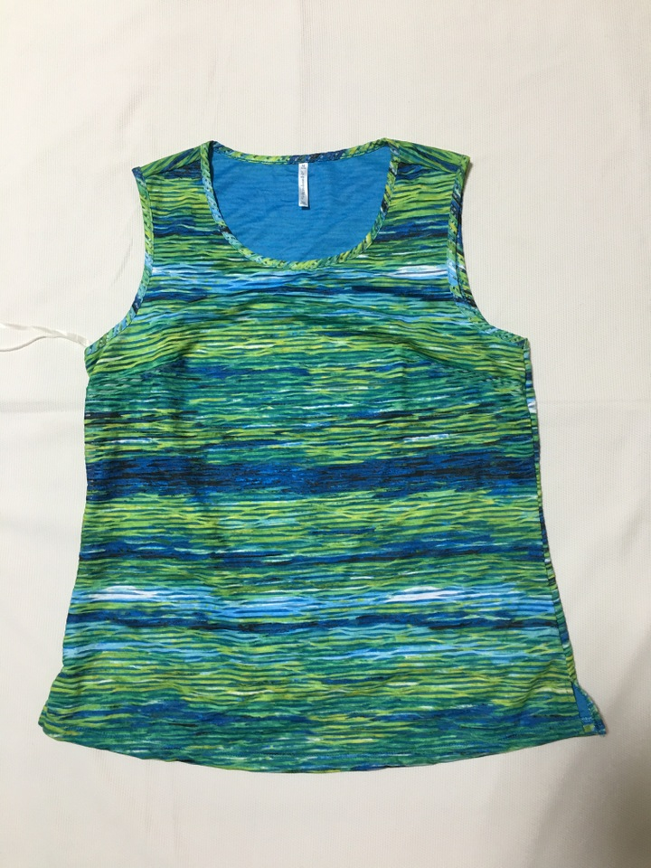 外贸原单 *assports绿色花纹双层无袖圆领修身T恤背心 质感独特