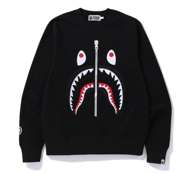 現貨 正品 BAPE SHARK CREWNECK 刺繡鯊魚衛衣 套頭衫 男女同款