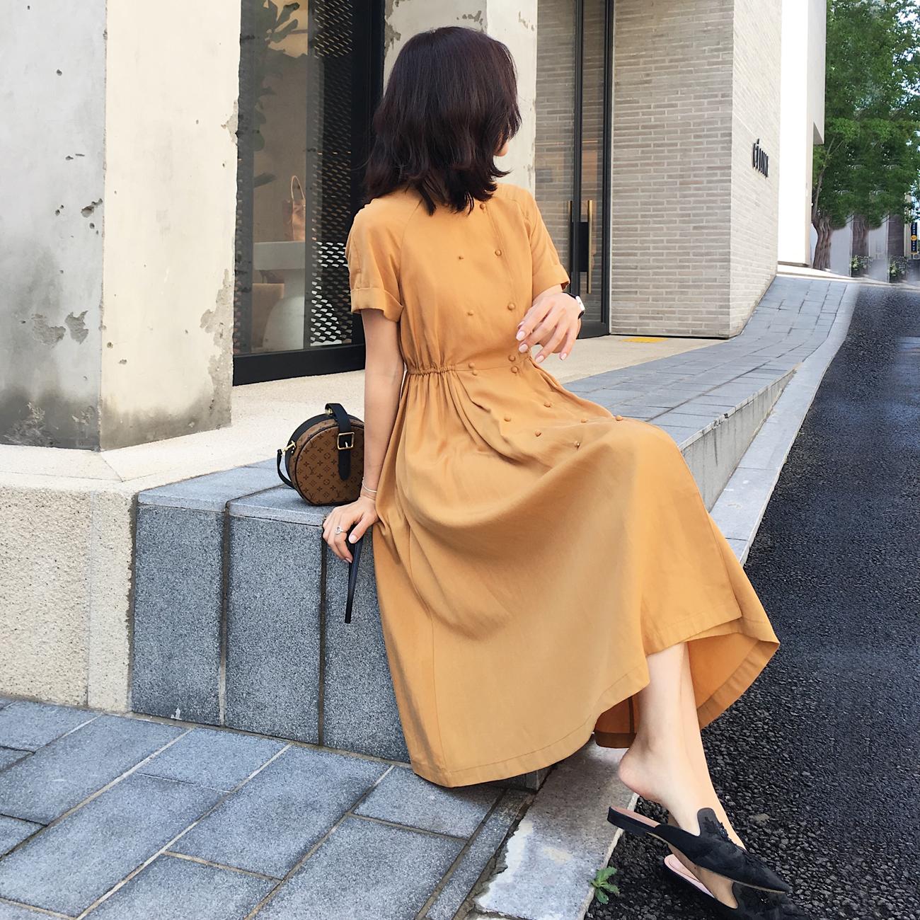 ◆ASM◆2018夏季新品短袖松紧腰复古连衣裙双排扣显瘦气质长裙女