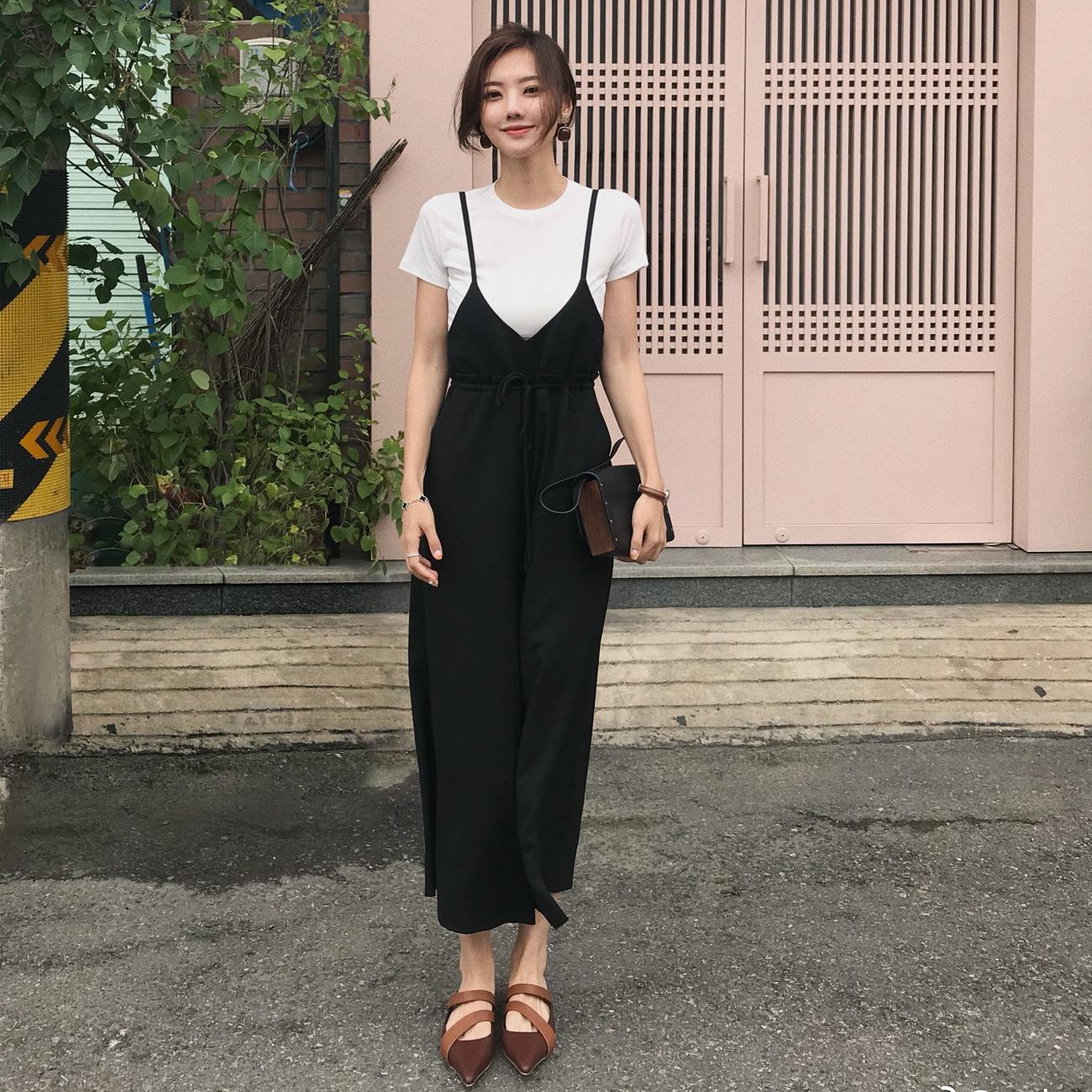 ◆ASM◆2018夏季新品 气质复古阔腿裤背带长裤高腰九分裤女装