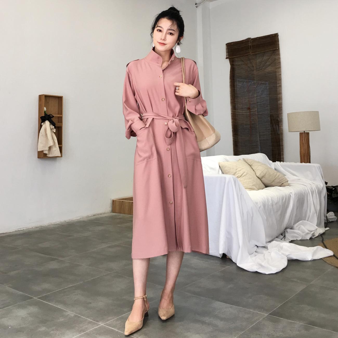◆ASM◆2018秋季新品气质显瘦收腰风衣长袖立领中长款外套女薄款