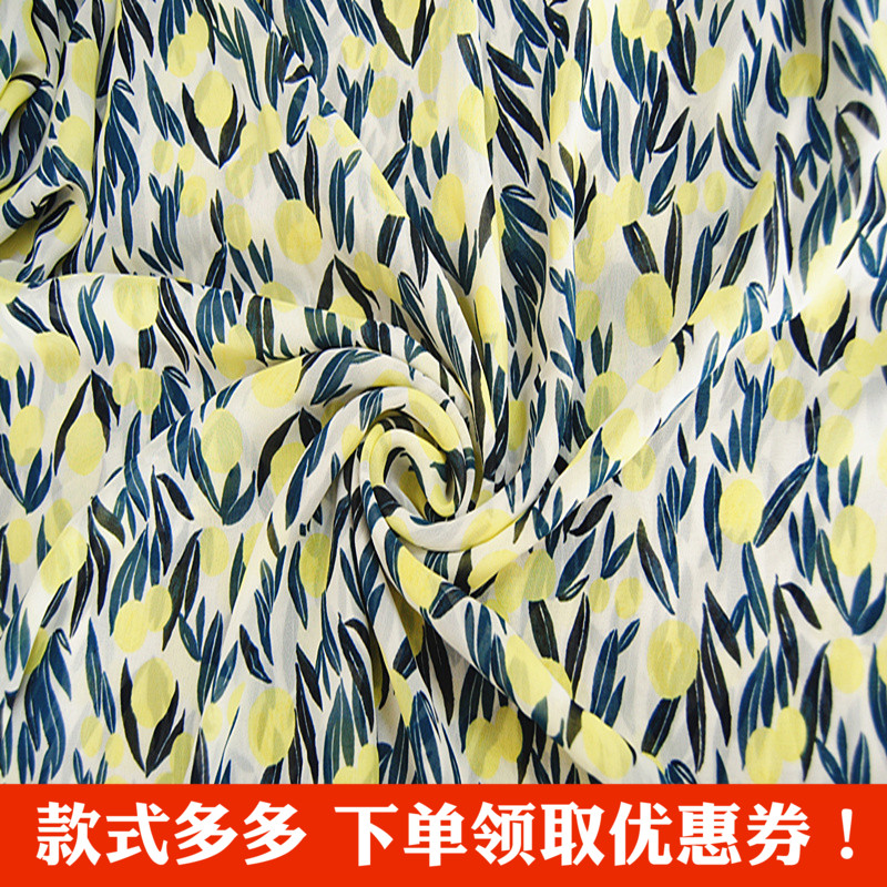 Chiffon printed fabric fresh summer silk fabric single layer transparent dress shirt new summer clothing material