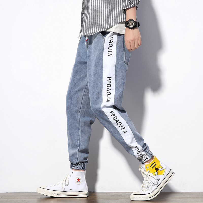 Autumn and winter large loose fashion mens jeans mens casual light color puffy Leggings Pants mens color matching casual jeans