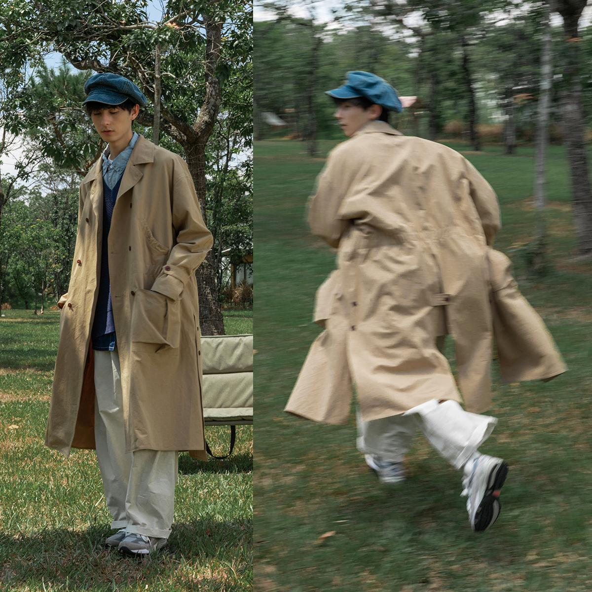 风衣外套男衣柜里请给它留个位置蒙马特先生日系长款收腰大衣