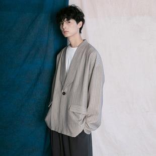 蒙马特先生 西装 慵懒风潮人BF男女条纹百搭上衣 秋季 外套男 韩版