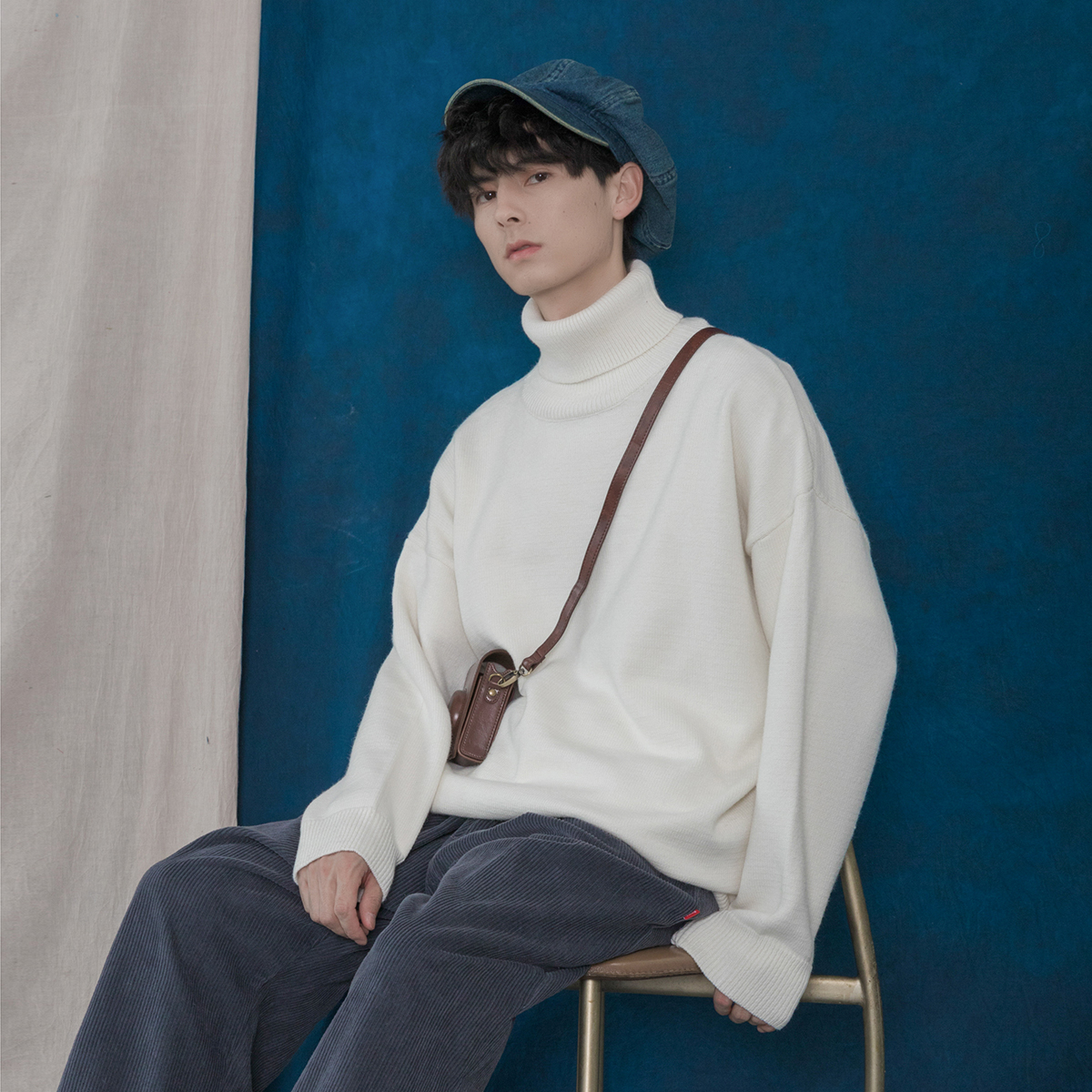 蒙马特先生 冬季纯色高领毛衣 男女百搭基础宽松堆堆领打底针织衫
