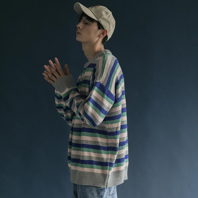蒙马特先生撞色条纹海魂长袖毛衣 韩国港风男女宽松BF风ins针织衫