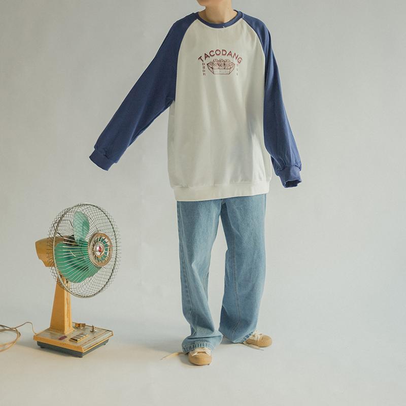 韩国ulzzang复古男女情侣插肩袖撞色卫衣薄款 学院BF宽松长袖上衣图片