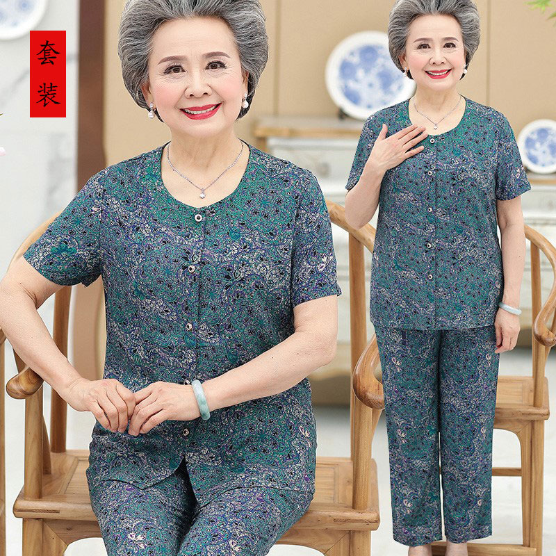 Elderly womens dress grandmothers dress cotton short sleeve top set middle aged and elderly womens dress summer dress womens cotton silk two piece set