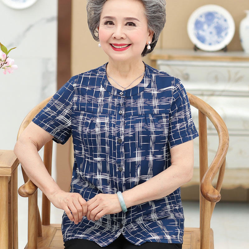 中老年人女装奶奶夏装纯棉短袖衬衫妈妈加肥加大码纯棉绸上衣宽松
