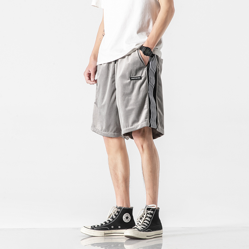 Noono original Japanese two color black grey striped sports shorts for men