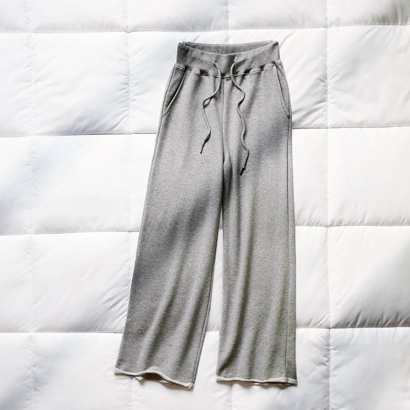 灰色运动卫裤春秋2019新款阔腿裤(非品牌)
