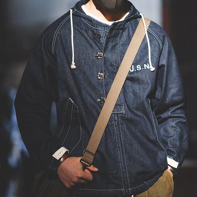 马登工装 复古海军丹宁甲板服阿美咔叽牛仔连帽衫卫衣宽松外套男