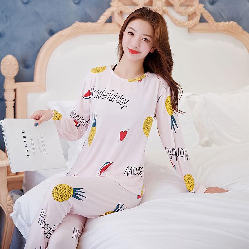 睡衣女春秋季长袖开衫韩版学生甜美清新卡通小鹿全棉薄款两件套装