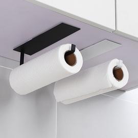 免打孔厨房用纸架碳钢保鲜膜收纳挂架挂钩置物架壁挂式卷纸纸巾架