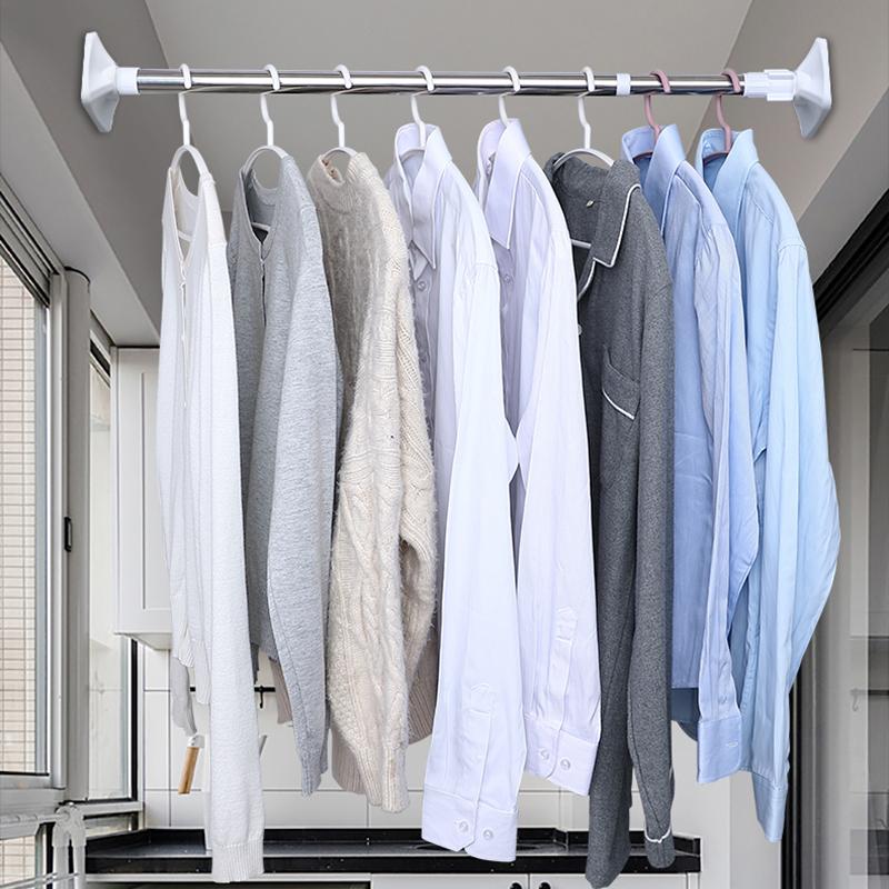 免打孔伸縮桿浴簾桿家用臥室衛生間陽臺撐桿晾衣桿窗簾桿子晾衣架