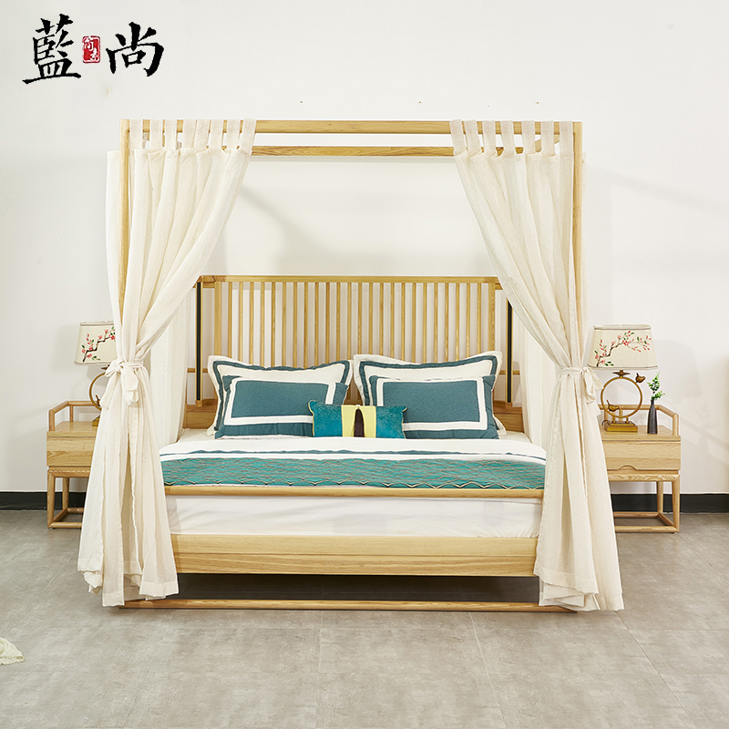 New Chinese style solid wood shelf bed modern simple four pillar bed bedroom B & B hotel model Room Furniture Customization
