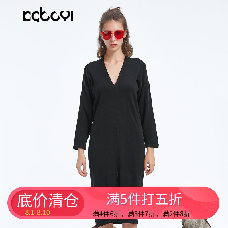 卡布依原创设计师品牌女装冬季新品限量V领前开叉针织红色连衣裙