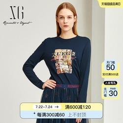 XG时尚印花长袖圆领毛针织T恤女2021秋季新款通勤OL风藏青色上衣