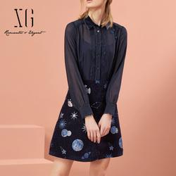 xg2019秋新款女装韩版中长款长袖印花衬衫连衣裙复古港味A字裙子