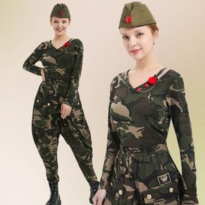 水兵舞服装迷彩套装女2021春夏新款全棉军迷上衣长袖马裤灯笼裤女