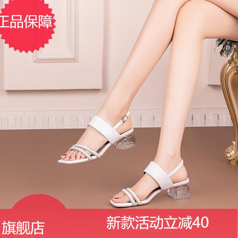 时尚透明粗跟水钻凉鞋女2021年夏季新款红色漆皮露趾一字带高跟鞋