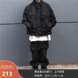 霹雳一枝花 自制工装立体多口袋夹棉机能风黑色夹克连帽外套棉衣