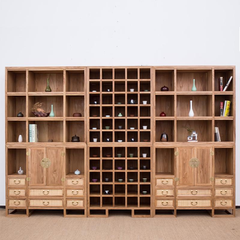 新中式实木博古架多宝阁古董架陈列展示柜简约现代置物架仿古客厅