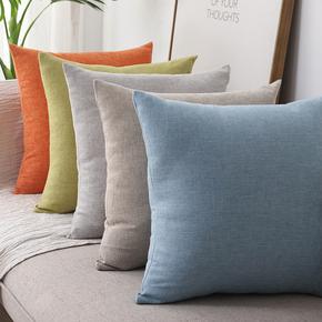 素色棉麻加厚正方形靠枕纯色家用沙发靠垫亚麻大抱枕客厅靠背枕垫