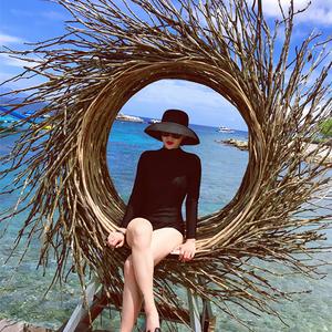 复古法式赫本黑色网红草帽遮阳帽防晒海边沙滩帽子女夏大沿太阳帽