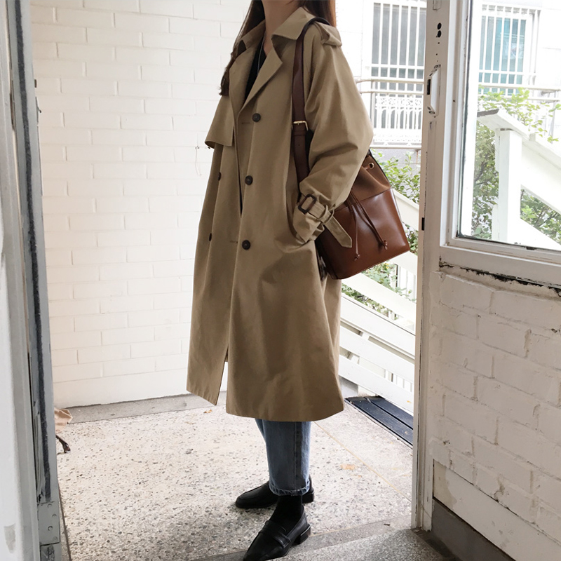 Windbreaker womens medium and long style Korean version 2021 spring and autumn new style British style large size loose and slim style coat fashion